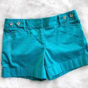 WHBM Teal Cuffed Shorts S1190